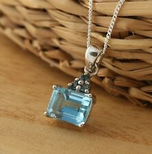 Natural Blue Topaz 925 Sterling Silver Pendant Necklace 18 Inch Gift Boxed