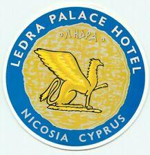 NICOSIA CYPRUSS LEDRA PALACE HOTEL VINTAGE LUGGAGE LABEL