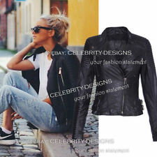 Regular Size Faux Leather Solid Coats & Jackets for Women