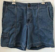 Eddie Bauer Women's Size 16 Mercer Fit Blue Jean Cargo Shorts 5 Pockets