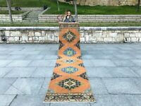Vintage Runner Turkish Antique Rug Lowpile Anatolian Oushak Rug Tribal Runner