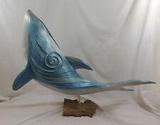 """Filament Textile Blue Whale Sculpture 29"""" Long Wood Base & Fiberglass Body"""