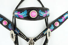 PURPLE PINK HEADSTALL LEATHER WESTERN BARREL HORSE SHOW BRIDLE BREASTCOLLAR TACK