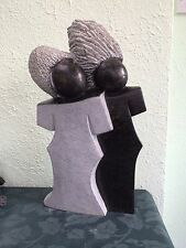 "J DAY  ""TOGETHER"" Shona Zimbabwe Hand Carved Serpentine Stone Sculpture"