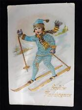 OLD VINTAGE / ANTIQUE GERMANY GREETINGS CARD SKIING- HERZLICHE FLEUJAHRSGNISSE?