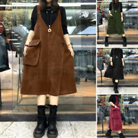 UK Women Corduroy Sleeveless Suspender Dress Casual Loose Overalls Shirt Dress
