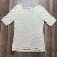 J.Crew Women's Size Small Cream Chevron Pointelle Sweater