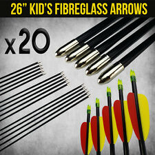 "20X 26"" FIBREGLASS ARROWS FOR COMPOUND OR RECURVE BOW TARGET ARCHERY NEW"