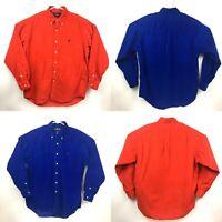 Lot of 2: Ralph Lauren Blake Mens Corduroy Button Down Shirt Size M Blue Red
