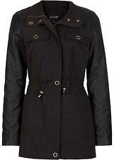 Parka-Jacke mit Ärmeln aus Lederimitat  Gr.34