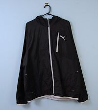 Mens PUMA Jacket in Black Hooded Sports Windbreaker XL X-Large