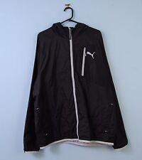 Mens PUMA Jacket in Black Hooded Sports Windbreaker XL X-Large