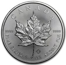 2016 1 oz Canadian Silver Maple Leaf $5 Coin 1 Troy Ounce of 9999 Fine Silver