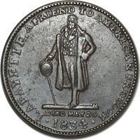 O1037 USA One Cent 1834 Lansingburgh New York Hard Times Token Lafayette