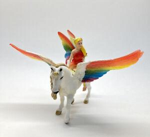 Bayala Schleich Rainbow Flying Unicorn Horse  And Fairy Figure D-73527