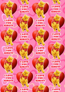 WINNIE THE POOH Personalised Valentines Day Gift Wrap - Disney Wrapping Paper