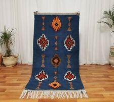 Handmade Moroccan Wool Rug Bohemian Berber Rug 3x6 Desert Blue Rug Kilim Carpet