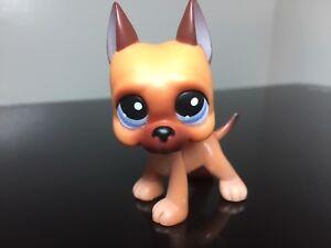 Littlest Pet Shop GREAT DANE Dog #244 Caramel Brown Purple Eyes Cute USA Seller