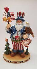 Patriotic Santa Claus God Bless America Red White Blue