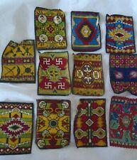 "Lot 11 Antique Tobacco Silks Felts Native American Blanket ~  8 1/4"" x 5 3/4"