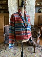 Turquoise Red Sienna Tapestry Southwestern Indian Blanket Jacket Womens L