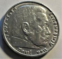 5,- Reichsmark 1935 E Silber Paul von Hindenburg / Reichsadler vz+/ xf+ & Kapsel