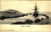 Suez Sues Ägypten Egypt alte AK ~1900 Courbe de Chantier Kanal Canal ungelaufen