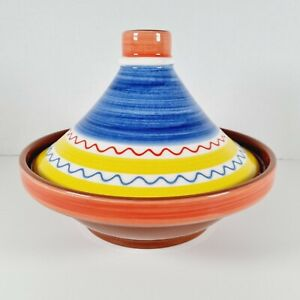 THE PEIR Colourful Hand-painted Terracotta Tagine 0.8L Moroccan Dish with Lid