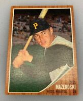 1962 Topps # 353 Bill Mazeroski Baseball Card Pittsburgh Pirates HOF