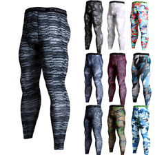 Men's Compression Pants Running Basketball Gym Long Tights Wicking Camo Cool Dry