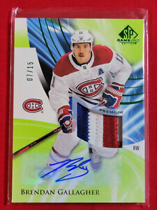 2020-21 UD SP Game Used Brendan Gallagher Green Patch Auto #28  07/15