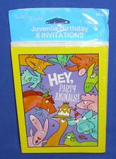 Tender Thoughts Juvenile Birthday Invitations Party Animals Pkg of 8 NIP