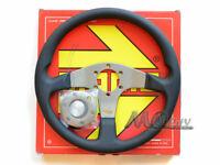 MOMO 350mm Tuner Steering Wheel Black Leather Silver Spoke TUN35BK0S