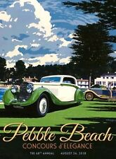 Official 2018 Pebble Beach Concours Poster. 100% Authentic.  Size 25 X 30