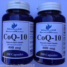 2 X CoQ-10 400mg Coq10 Coenzyme Q10 Heart Health 400 Capsules Gluten FREE USA