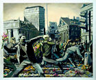"BANKSY STREET ART *FRAMED* CANVAS PRINT Riot Flower thrower 16""X 12"" stencil -"