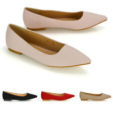 Womens Flat Pointed Toe Shoes Ladies Ballet Faux Suede Slip On Pumps