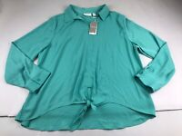 Chico's 3 Or XL Tie Front Arienne Long Sleeve Blouse Top Shirt Green Fash Agate