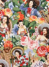 AH108 Las Senoritas Sexy Calendar Pin Up Girls Mexico Cactus Cotton Quilt Fabric