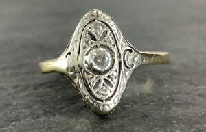 Art Deco Brillant & Diamantrosen Ring 585 Gelbgold RG50 Zertifikat Wert:950€