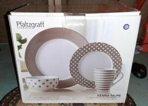 Pfaltzgraff Everyday Kenna Taupe 16 Piece Dinnerware Set New In Box