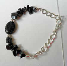 """Blue glitterstone/goldstone bracelet 8"""" or shorter"""