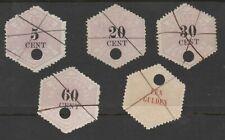 Telegramzegels zwarte pen ontwaarding NVPH  TG 3,6,8,10 en 11