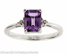 Sterling Silver Diamond + Purple Amethyst Set Ring Size P + gift bag
