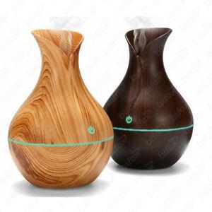 300 ml Diffusore di Oli Essenziali Umidificatore ad ultrasuoni con diffusore di olio essenziale a 7 colori Night Light Wood Grain Umidificatori per camera singola bianca