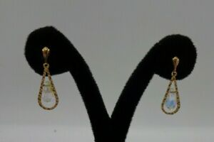 9ct Yellow Gold Earrings AB Crystal Teardrops In Cut Gold Surround VGC Boxed #71