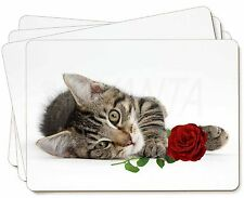 Tabby Kitten Cat with Red Rose Picture Placemats in Gift Box, AC-204RP