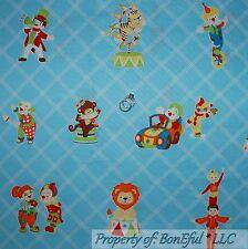 BonEful Fabric FQ Cotton Quilt Aqua Blue Baby Nursery Circus Animal Clown Retro