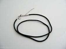 Tiffany & Co Silver Black Silk Cord Chain Extendable Necklace Pendants / Charms