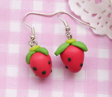 Red Strawberry Kawaii Kitsch Clay Costume Drop Dangle Earrings - UK SELLER!